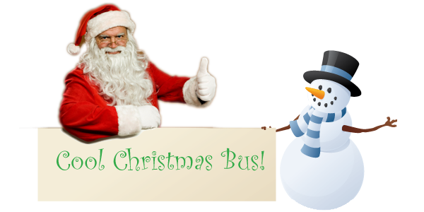 Santa giving the thumbsup to our Chool Christmas Bus sign held up by a snowman