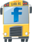 School bus illustration with Facebook label