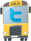 School bus illustration with Twitter label