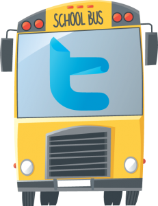 school bus with Twitter icon